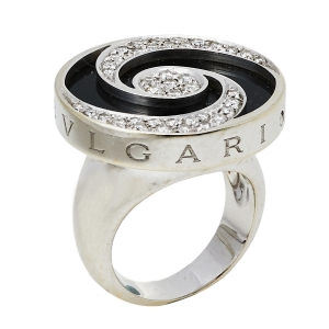 Bvlgari Optical Illusion Black Onyx Diamond 18K White Gold Ring Size 51