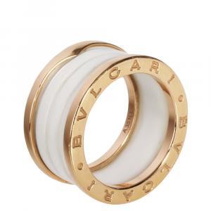 Bvlgari B.zero1 Ceramic 18K Rose Gold Ring Size EU 55