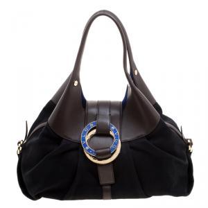 Bvlgari Black/Brown Leather Chandra Hobo