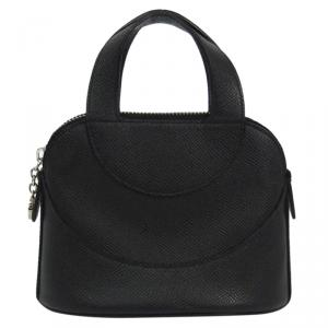 Bvlgari Black Leather Mini Zip Satchel