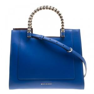 Bvlgari Blue Leather Medium Serpenti Tote