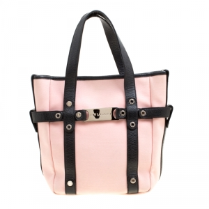 Bvlgari Pink/Black Canvas and Leather Tote