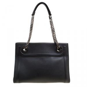 Bvlgari Black Leather Chain Shopping Tote