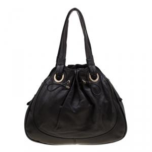 Bvlgari Black Leather Ruched Hobo