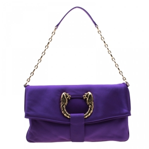 Bvlgari Purple Satin Leoni Flap Clutch Bag