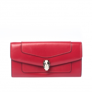 Bvlgari Red Leather Serpenti Forever Wallet