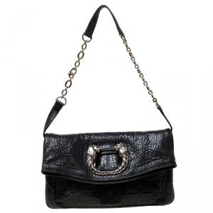 Bvlgari Black Leather Leoni Flap Clutch