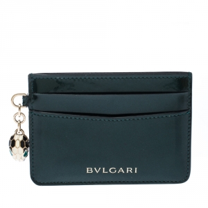 Bvlgari  Dark Green Patent Leather Serpenti Forever Card Holder