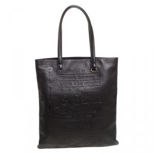 Bvlgari Black Leather Sotirio Motif Tote