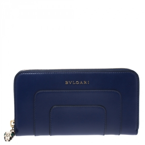 Bvlgari Blue Leather Serpenti Forever Zip Around Wallet