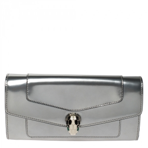 Bvlgari Metallic Silver Patent Leather Serpenti Forever Continental Wallet