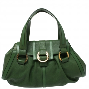 Bvlgari Green Leather Chandra Satchel