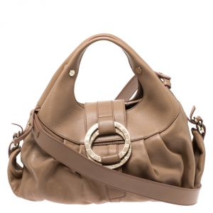 Bvlgari Beige Leather Chandra Satchel