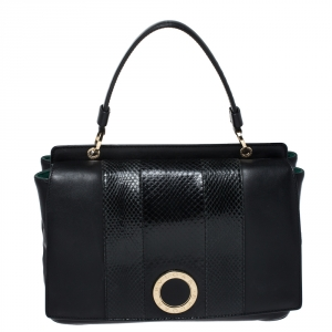 Bvlgari Black Leather and Python Top Handle Bag