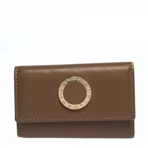 Bvlgari Brown Leather 6 Key Holder