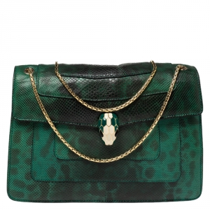 Bvlgari Green Lizard Medium Serpenti Forever Flap Shoulder Bag