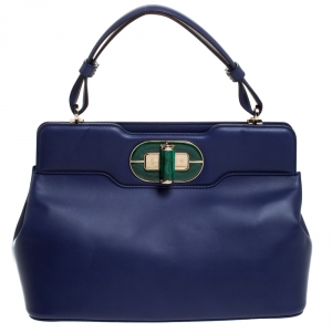 Bvlgari Blue Leather Isabella Rossellini Top Handle Bag