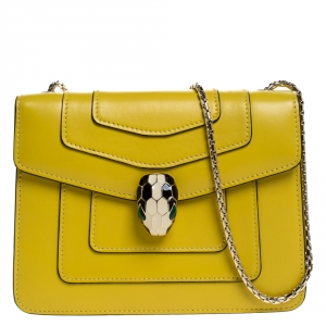 Bvlgari Yellow Leather Small Serpenti Forever Shoulder Bag