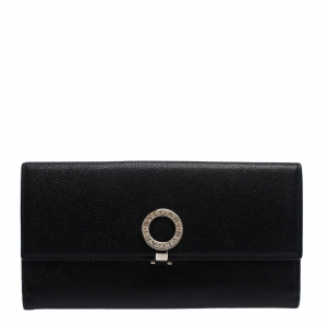 Bvlgari Black Leather Trifold Continental Wallet