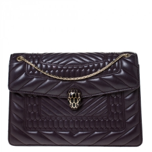 Bvlgari Dark Purple Quilted Scaglie Leather Medium Serpenti Forever Shoulder Bag