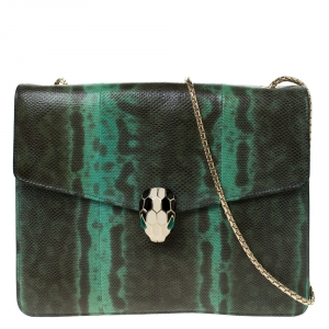 Bvlgari Green/Black Lizard Serpenti Forever Flap Shoulder Bag