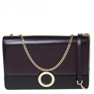 Bvlgari Plump/Black Leather and Perspex Flap Cover Shoulder Bag