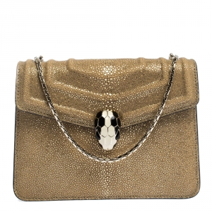 Bvlgari Metallic Gold Stingray and Patent Leather Serpenti Forever Shoulder Bag