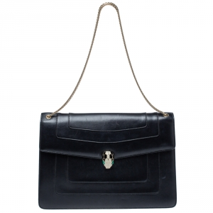 Bvlgari Black Leather Serpenti Forever Shoulder Bag
