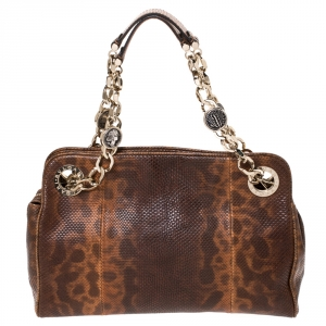 Bvlgari Brown Lizard Medium Bonton Bag
