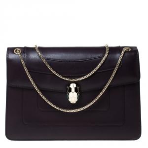 Bvlgari Dark Plum Leather Medium Serpenti Forever Flap Shoulder Bag