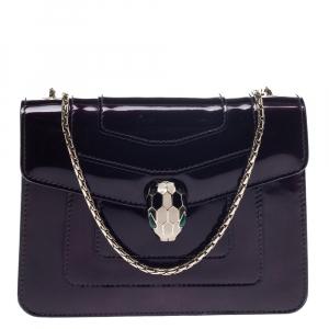 Bvlgari Plum Patent Leather Small Serpenti Forever Shoulder Bag