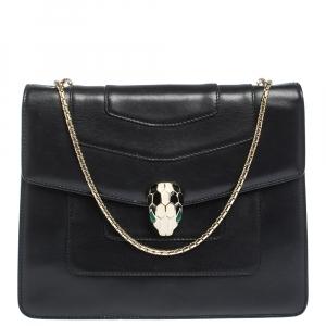 Bvlgari Black Leather Medium Serpenti Forever Shoulder Bag