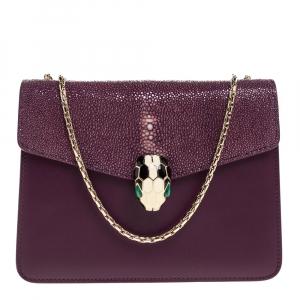 Bvlgari Purple Leather and Stingray Serpenti Forever Shoulder Bag