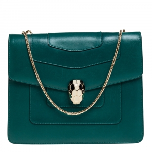 Bvlgari Green Leather Serpenti Forever Shoulder Bag