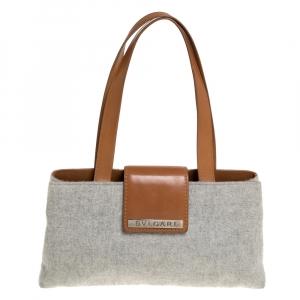 Bvlgari Grey/Tan Wool and Leather Shoulder Bag