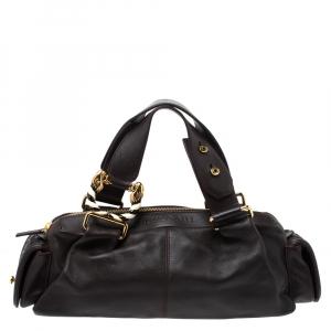 Bvlgari Dark Brown Leather Leoni Zip Satchel