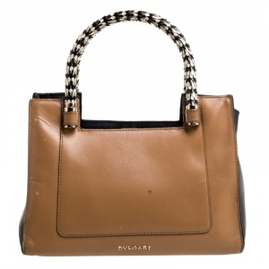 Bvlgari Tan/Black Leather Small Serpenti Scaglie Tote
