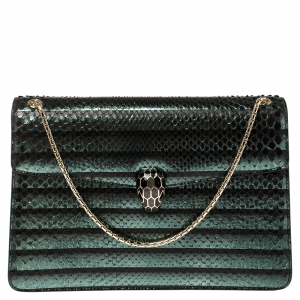 Bvlgari Green Python Medium Serpenti Forever Flap Shoulder Bag
