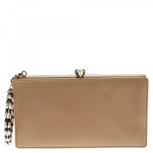 Bvlgari Beige Satin Serpente Bangle Clutch