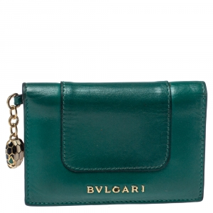 Bvlgari Green Leather Serpenti Forever Bifold Card Holder