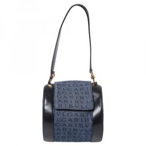 Bvlgari Blue/Black Denim and Leather Cylinder Bag