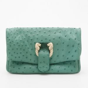 Bvlgari Jade Green Ostrich Clutch Bag