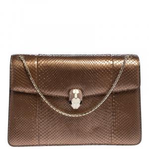 Bvlgari Bronze Python Medium Serpenti Forever Flap Shoulder Bag