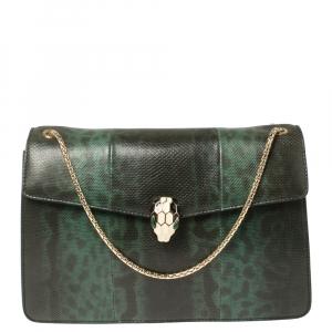 Bvlgari Green Lizard Medium Serpenti Forever Shoulder Bag