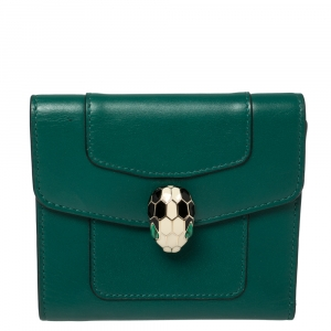 Bvlgari Green Leather Serpenti Forever Trifold Wallet