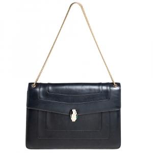 Bvlgari Black Leather  Serpenti Forever Flap Shoulder Bag