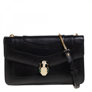 Bvlgari Black Leather Serpenti Forever Flap Shoulder Bag