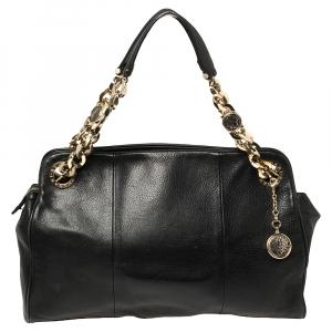 حقيبة  بلغاري مونيت جلد أسود بسلسلة