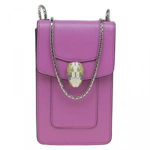 Bvlgari Pink Leather Serpenti Forever Vertical Chain Pochette