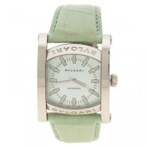 Bvlgari Blue Mother of Pearl Stainless Steel Assioma Women's Wristwatch 35 mm